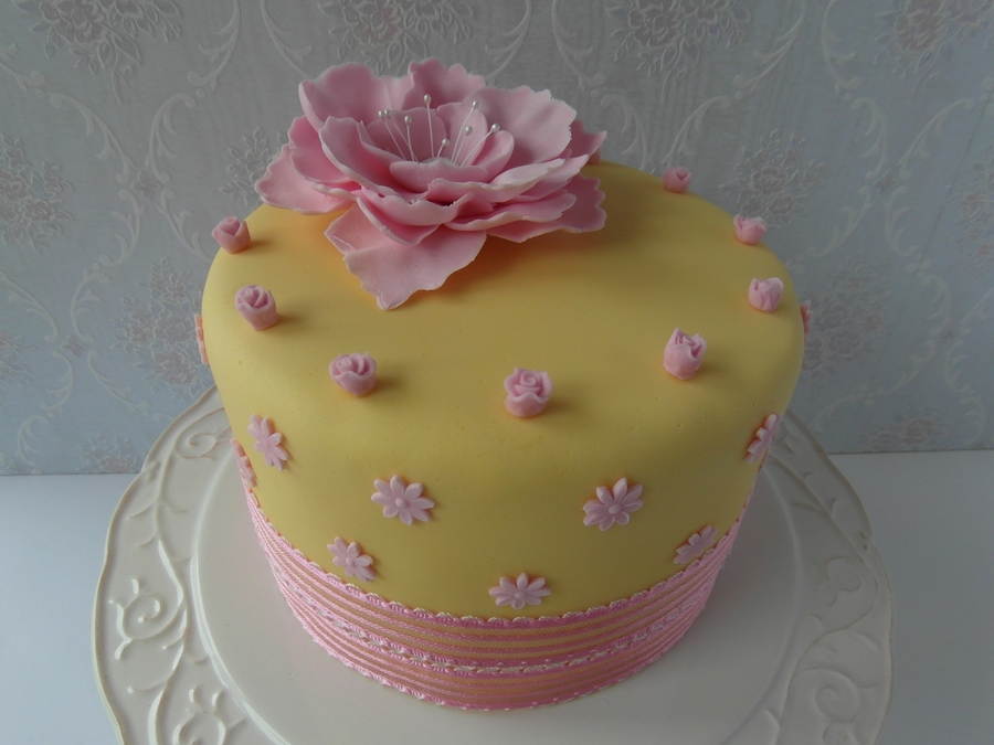 A Sunny Yellow Cake With Pink Flowers - Cakecentral.Com