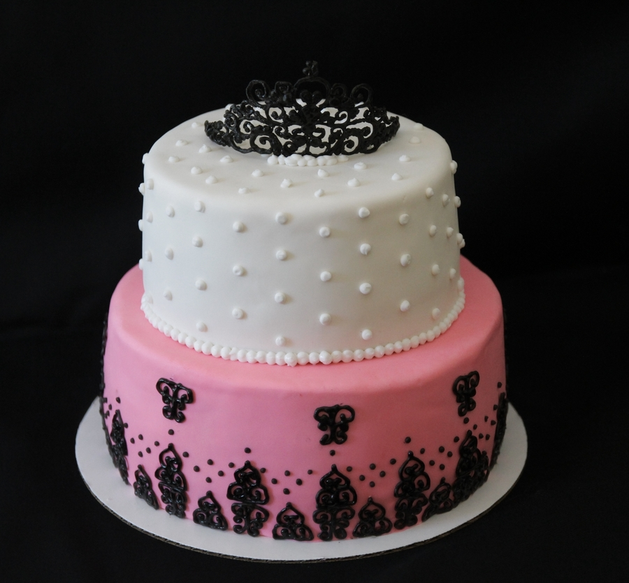 Birthday Cake - Pink, Black And White - CakeCentral