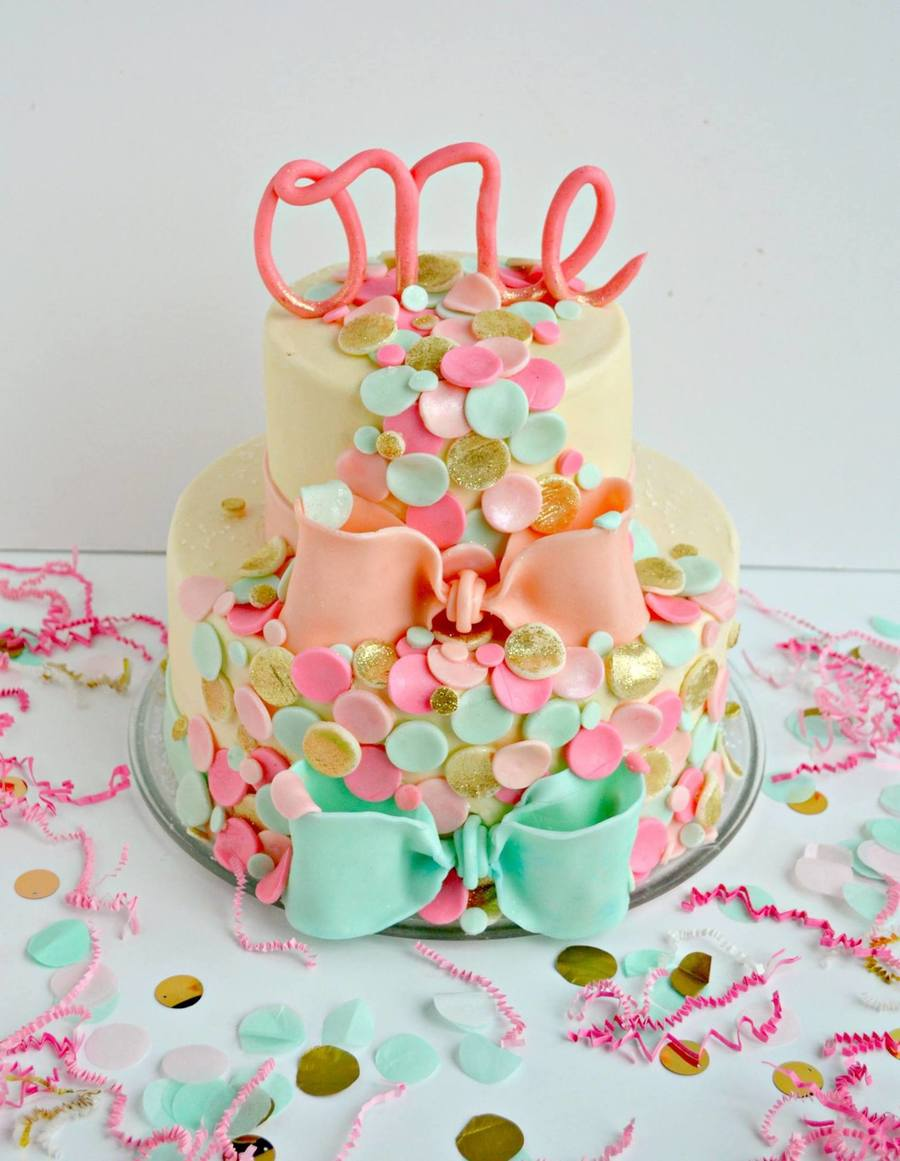 2 Year Old Girls Happy Birthday Wallpaper Confetti Themed First Birthday Cake Cakecentral Com
