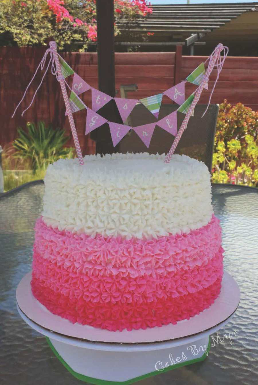 Corner Pink Ombre Baby Shower Cake On Cake Central Pink Ombre Baby Shower Cake Girl Baby Shower Cakes Girl Baby Shower Cakes Flowers baby shower Girl Baby Shower Cakes