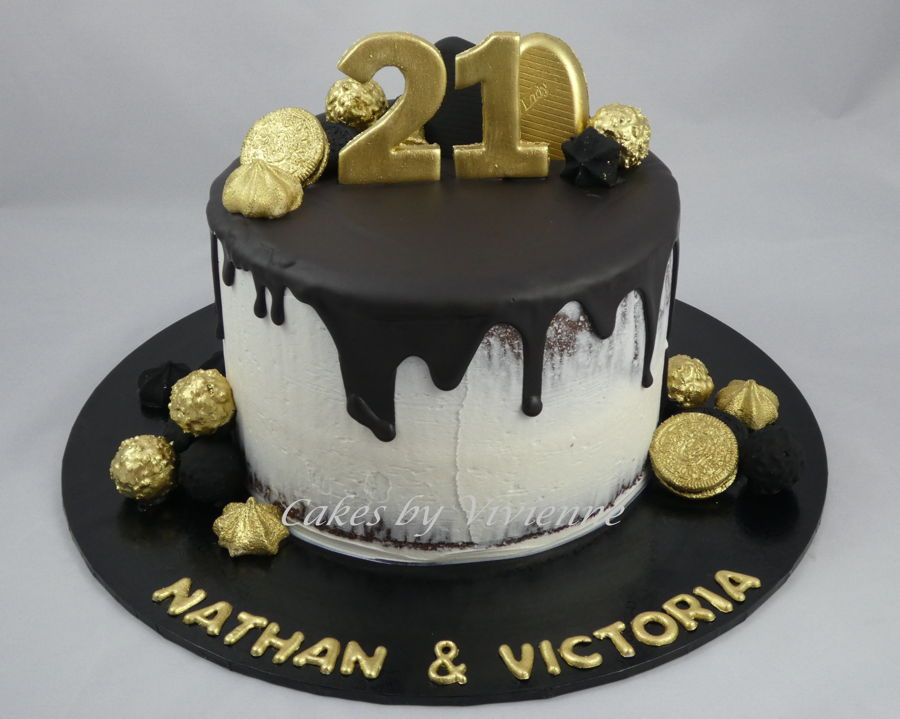 Black And Gold 21St Birthday Cake - CakeCentral