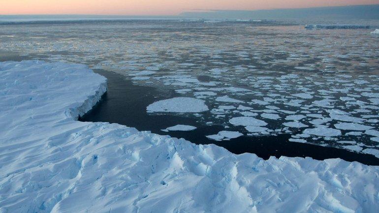Plataforma de hielo rodeada de témpano de hielo de deriva en la bahía Vincennes en el Territorio Antártico Australiano (2008)
