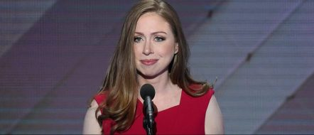 Chelsea Clinton addresses delegates during the fourth and final night of the Democratic National Convention at Wells Fargo Center on July 28, 2016 in Philadelphia. (SAUL LOEB/AFP/Getty Images)