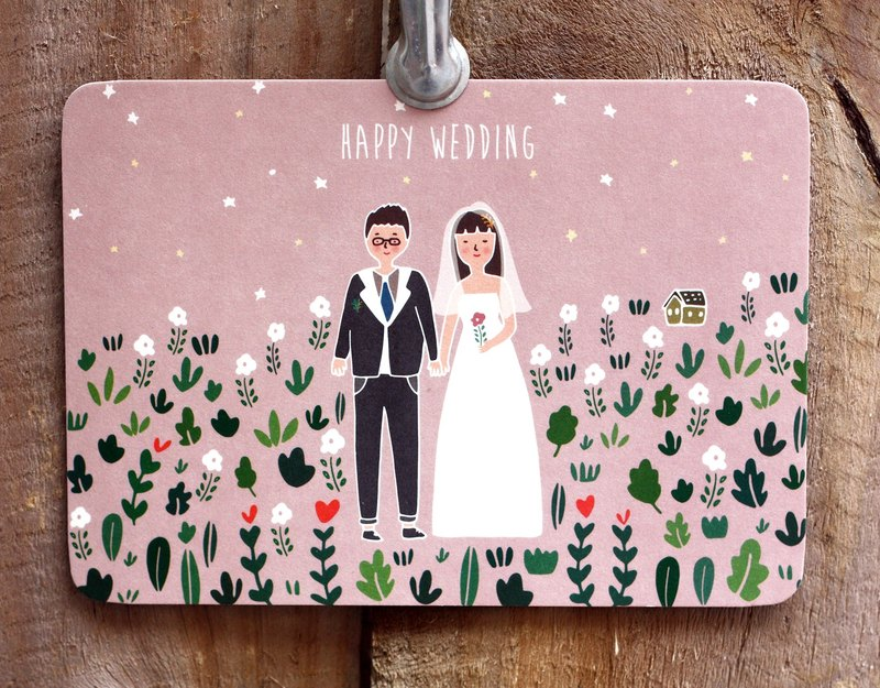 KerKerland-HAPPY WEDDING/ postcard - Designer kerkerland Pinkoi