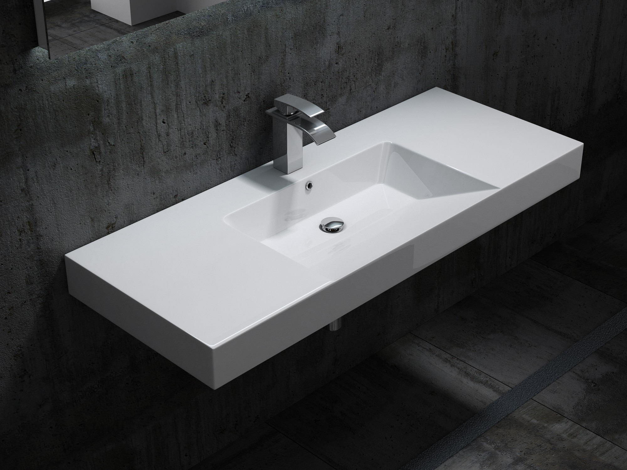 Marble Basin Wall Hung Basin Wall Mounted Basin Cast Marble Bs6036 White