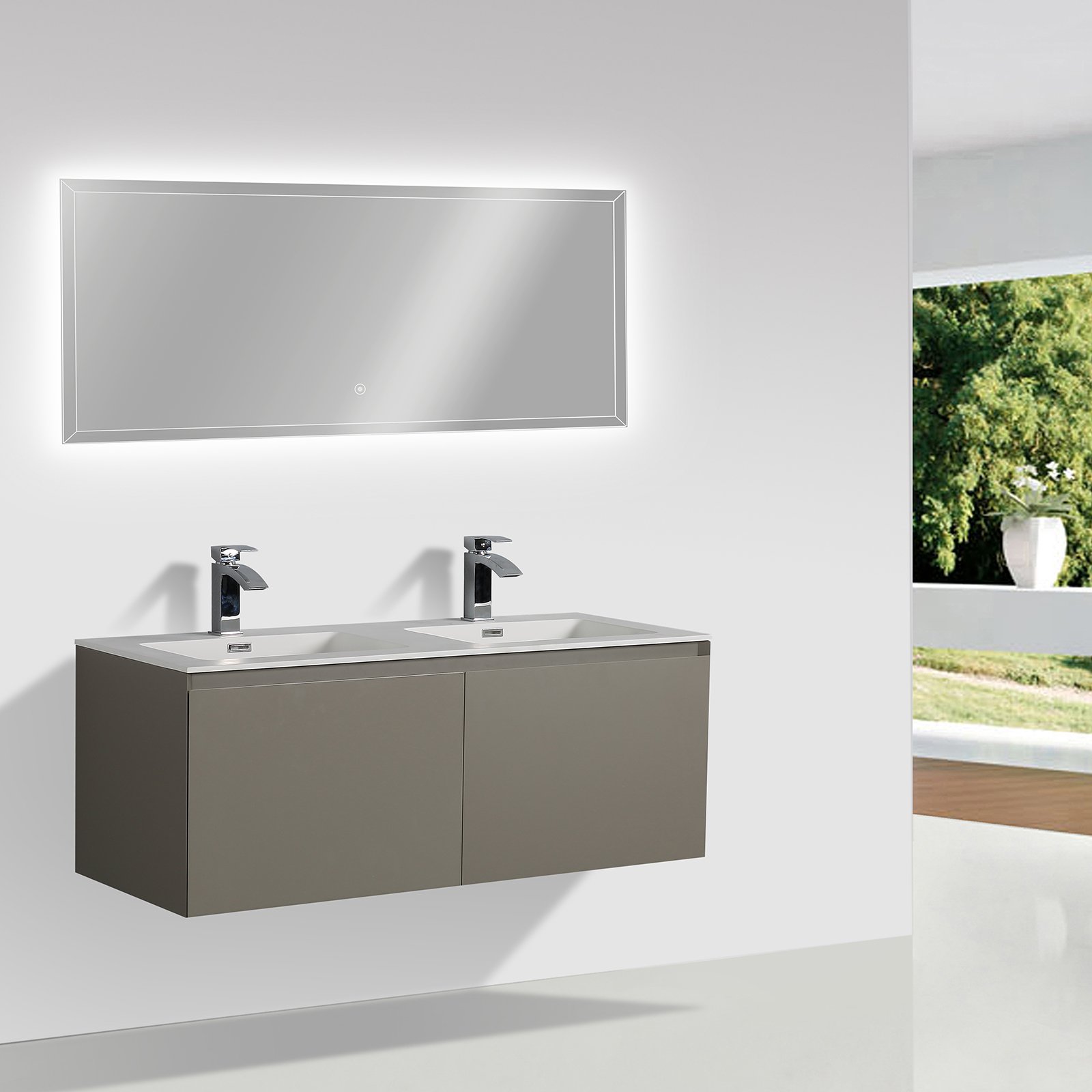 Doppelwaschbecken Glas Wall Hung Bathroom Furniture Set Luna 1200 Matte Grey Optional