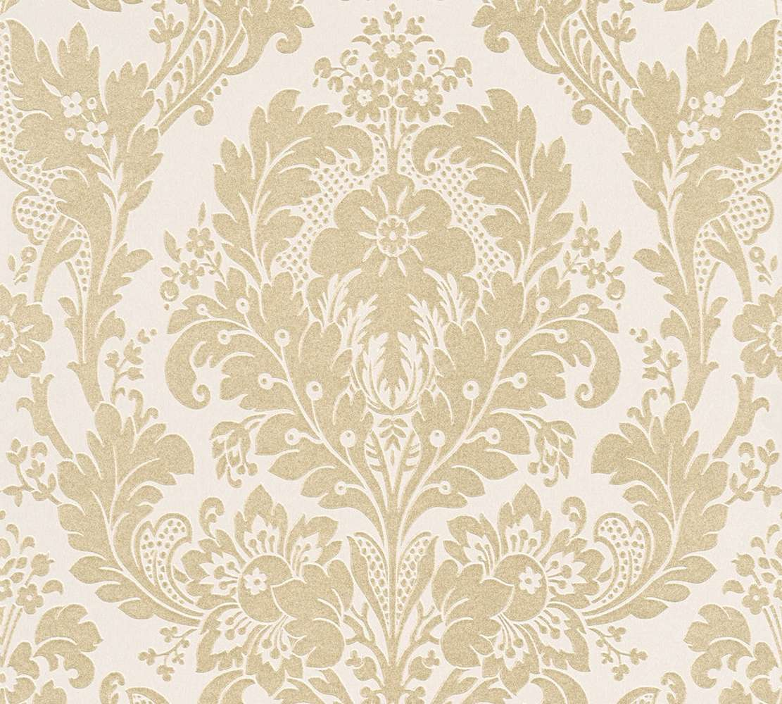 Tapete Papier Tapete Papier Barock Floral Weiß Beigegold As Creation 32750 3