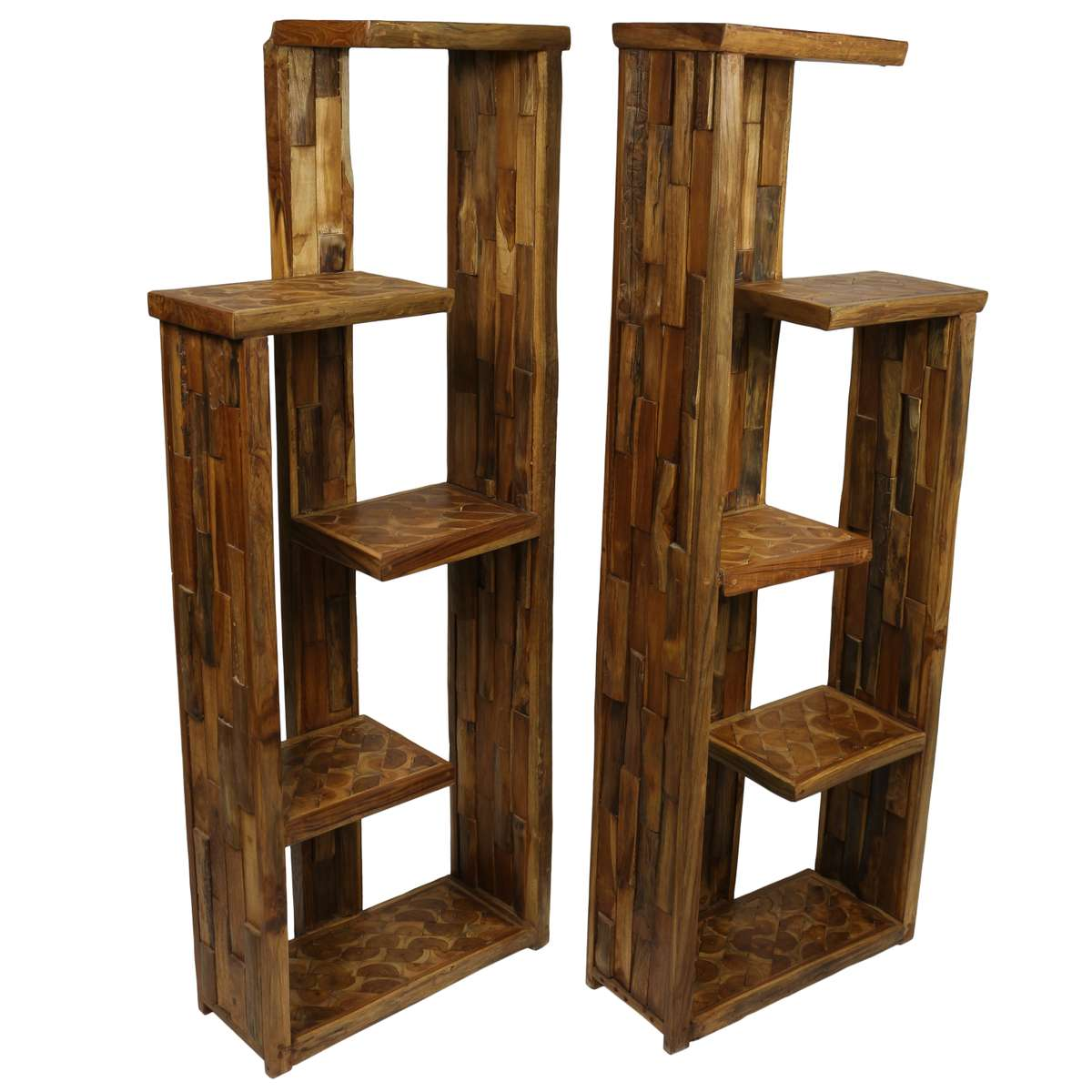 Bücherregal Rustikal Design Regal 2er Set Teakholz Holzregal Bücherregal Raumteiler Standregal Rustikal 166 Cm Höhe