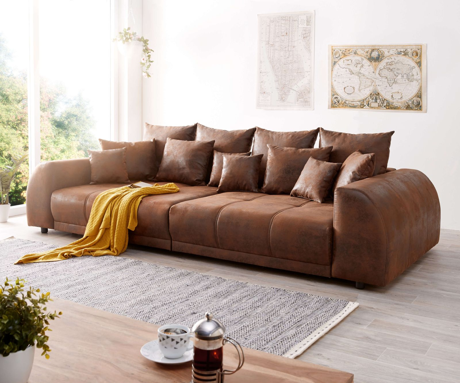 Relax Sofa Braun Big Sofa Baci Living Room