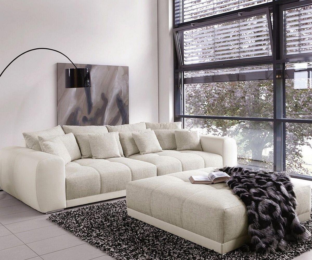 Wohnzimmer Sofas Mit Schlaffunktion  Big Sofa Valeska 310x135 Mit Hocker Grau Cremeweiss M246;bel