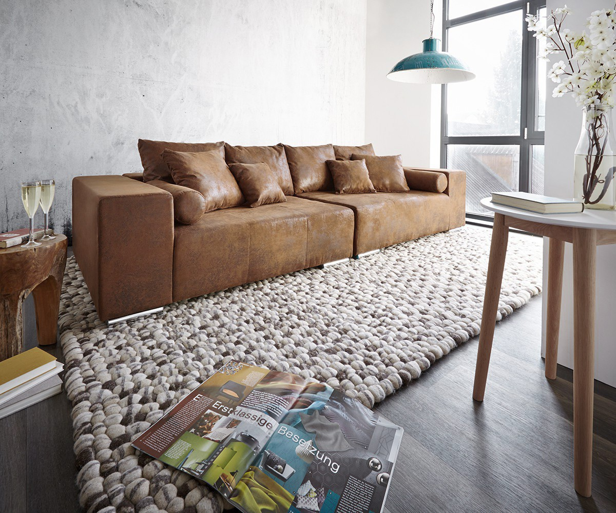 Big Sofa Möbel Xxl Big Sofa Marbeya 285x115 Braun Antik Optik Mit 10 Kissen