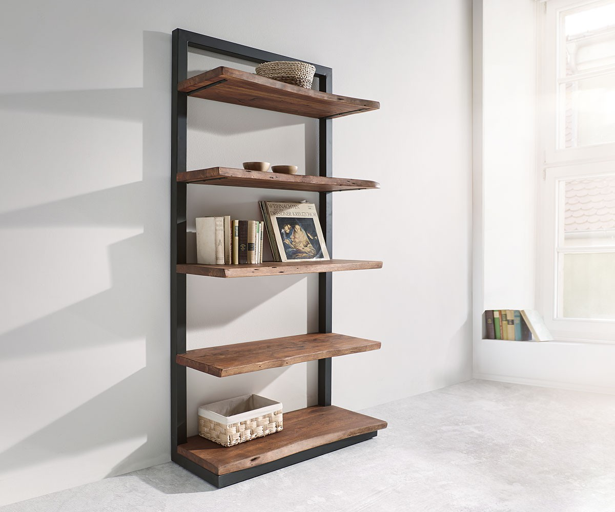 Wandregal Amazon Regal Live Edge Akazie Braun 92 Cm Mit Metall 5 Böden Standregal