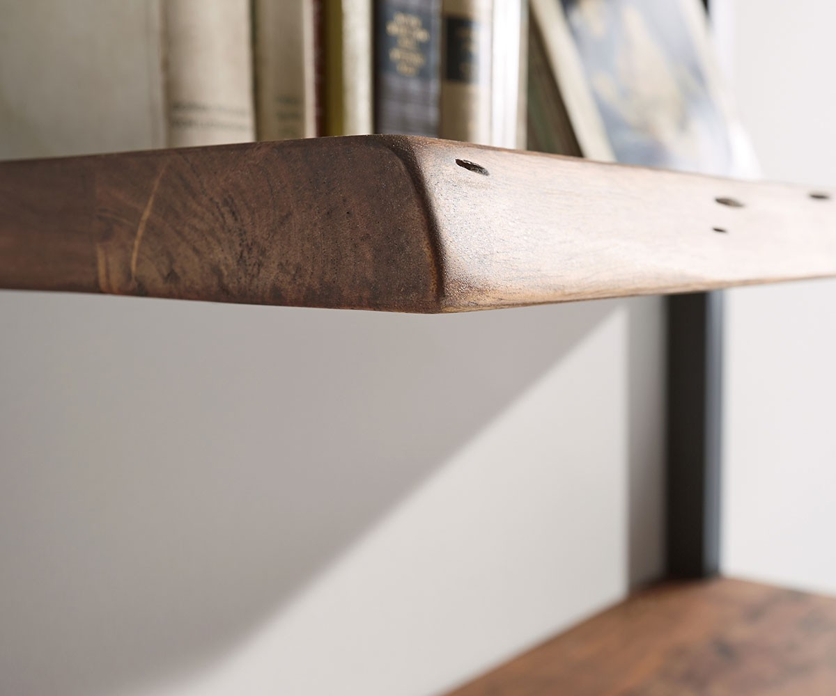 Regal Akazie Regal Live Edge Akazie Braun 92 Cm Mit Metall 5 Böden Standregal