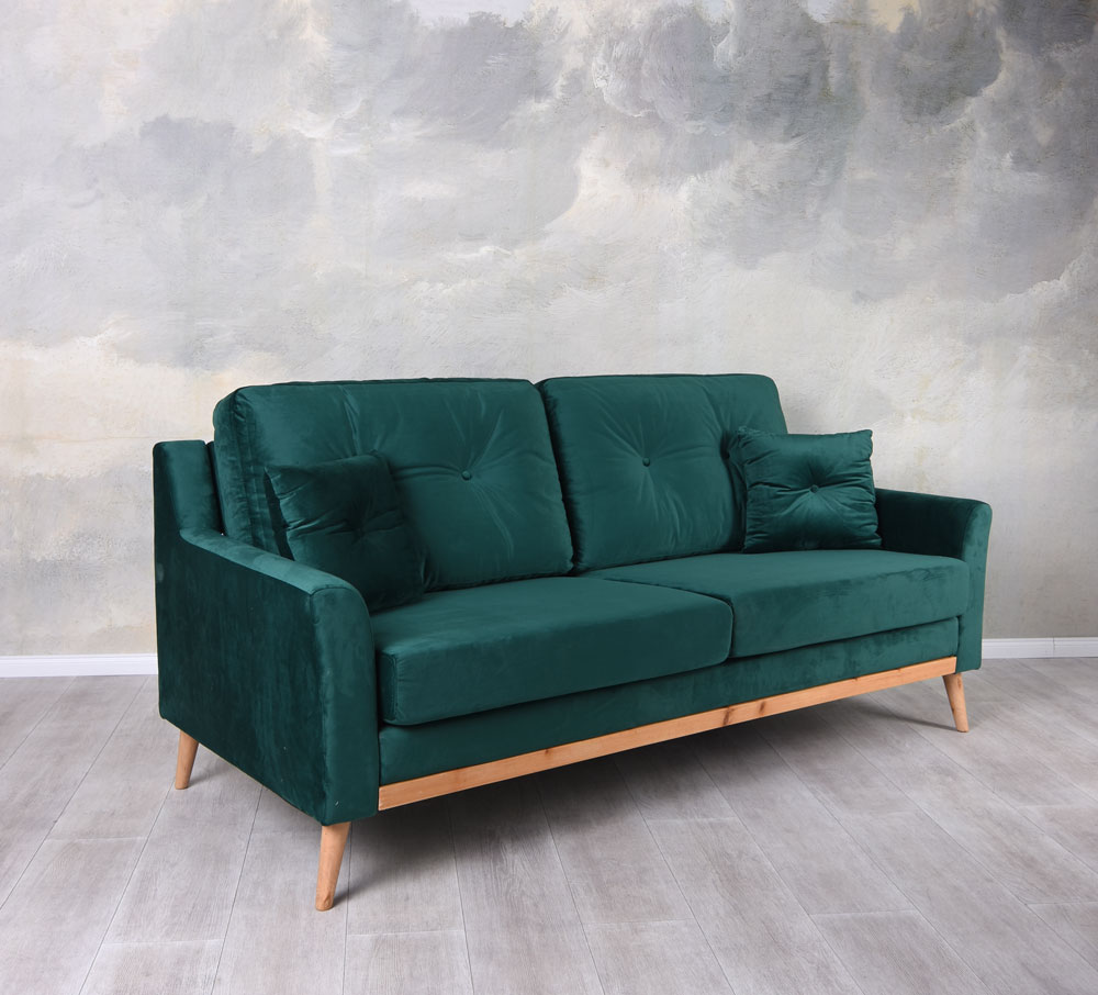 Samt Couch Dreisitzer Couch Sofa Samt Smaragd Polstersofa Sofabank ...
