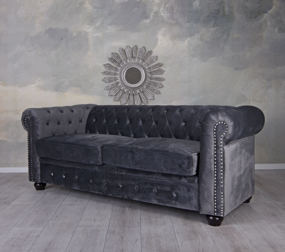 Samt Couch 3-sitzer Chesterfield Sofa Samt Grau Couch Samtsofa ...
