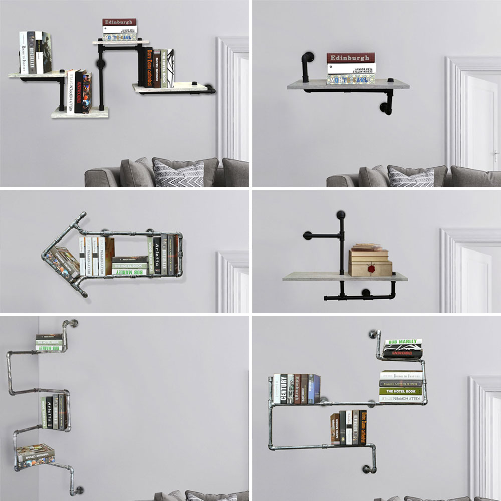 Industrielook Wand Details Zu Retro Stil Wand Regal Metall Rohr Bücher Ablage Industrie Look Beton Optik Mdf