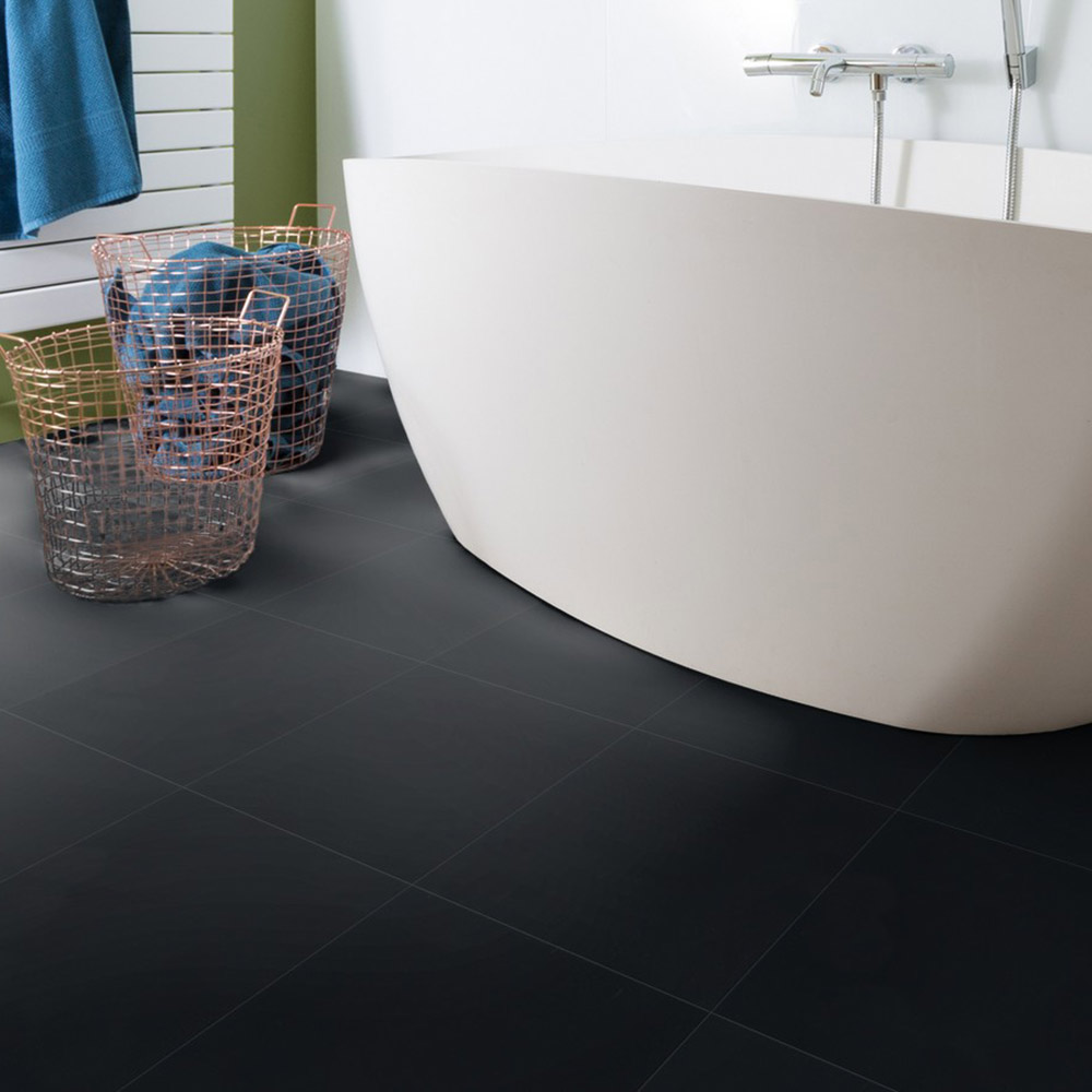 Bodenbeläge Fliesen Gerflor Vinyl Fliese Design 0221 Black Tile 1m²