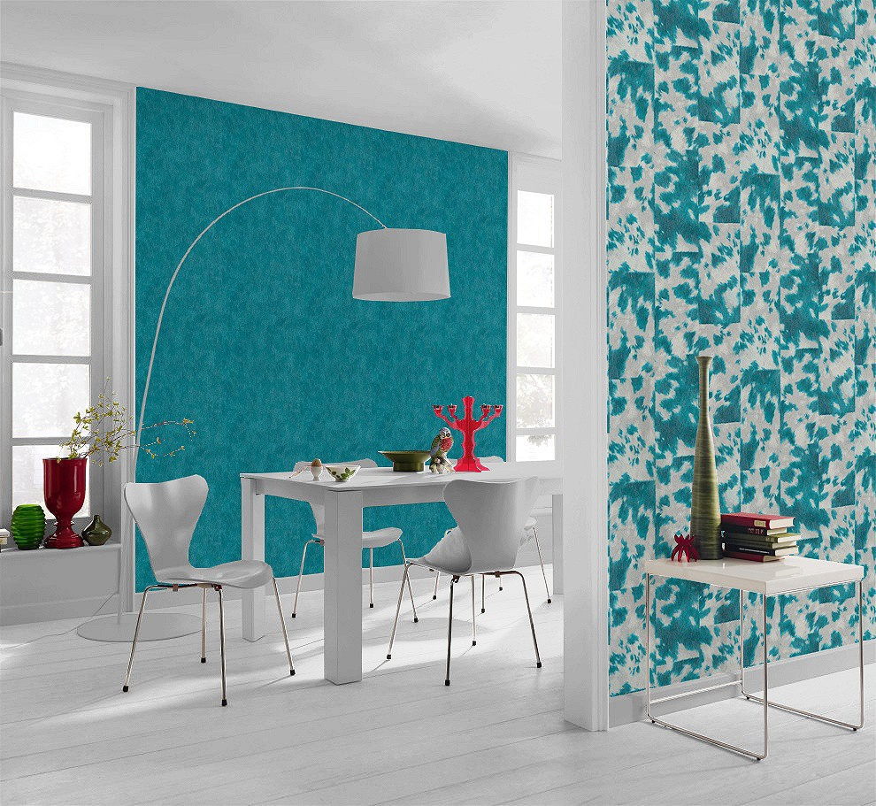 Wohnzimmer Tapete Türkis Non-woven Wallpaper Coat Optic Turquoise Grey Rasch Pop