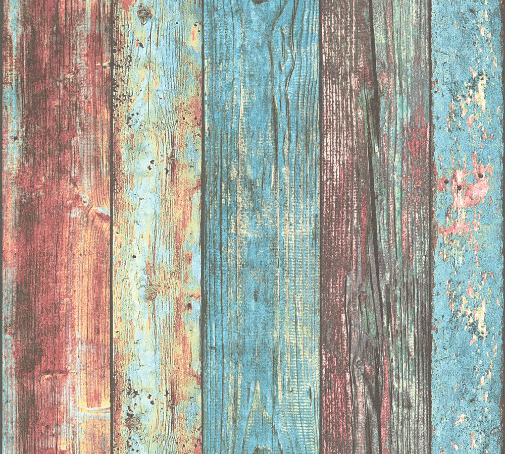 Wallpaper Wooden Style Used Turquoise As Creation 30723 1 - Tapete Holz