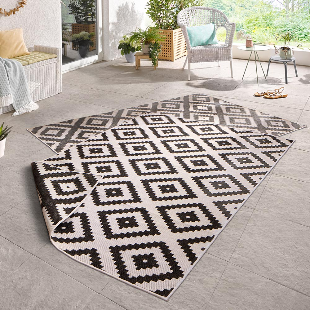 Outdoor Teppich Sale Wendeteppich Malta Schwarz Creme In Outdoor