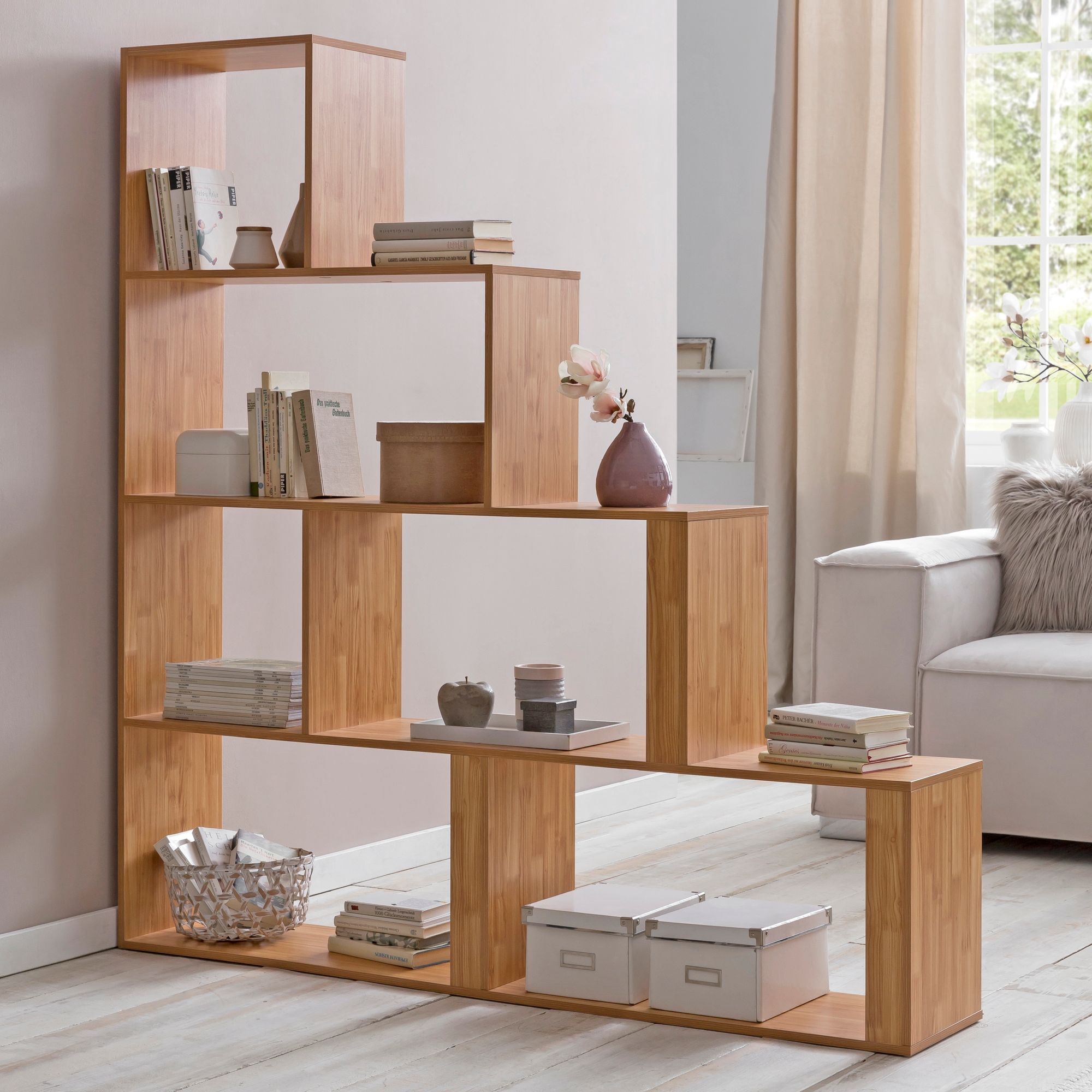 Regal Raumteiler Details Zu Finebuy Stufenregal Holz Treppenregal Bücherregal Standregal Raumteiler Regal
