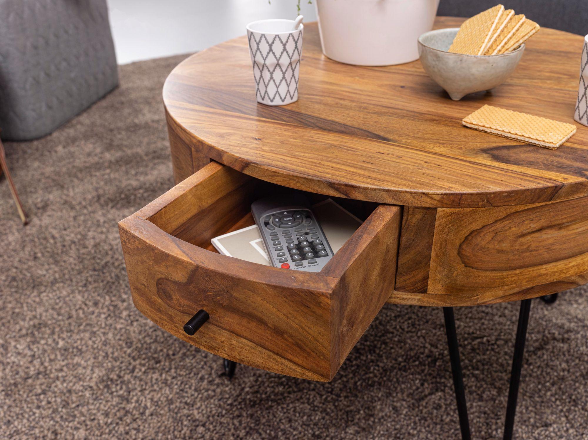 Finebuy Couchtisch Massivholz 60 Cm Wohnzimmertisch Rund Sofatisch Tisch Ablage Ebay