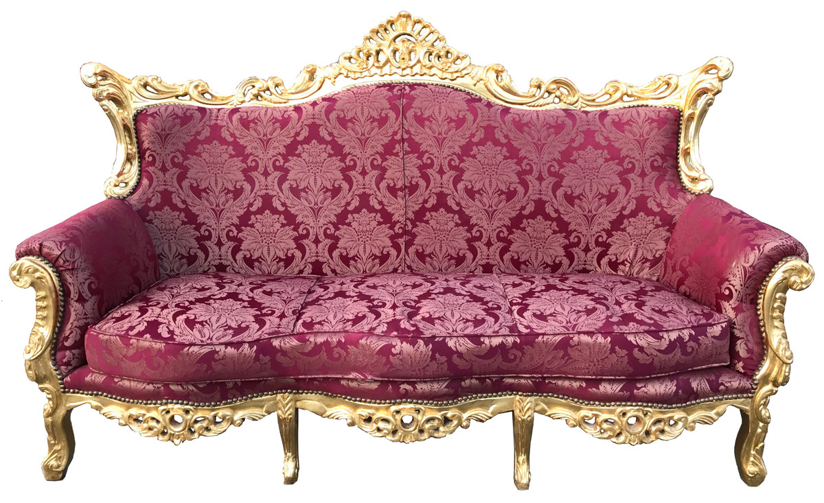 Wohnzimmer Sofa Rot Casa Padrino Barock 3er Sofa Bordeaux Rot Muster Gold Wohnzimmer