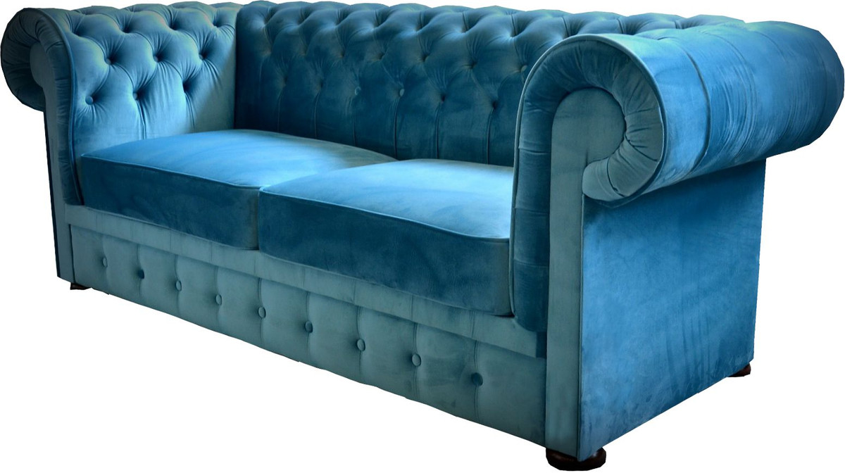 2er Schlafsofa Casa Padrino Chesterfield 2er Sofa In Blau 160 X 90 X H 78 Cm Luxus Chesterfield Sofa