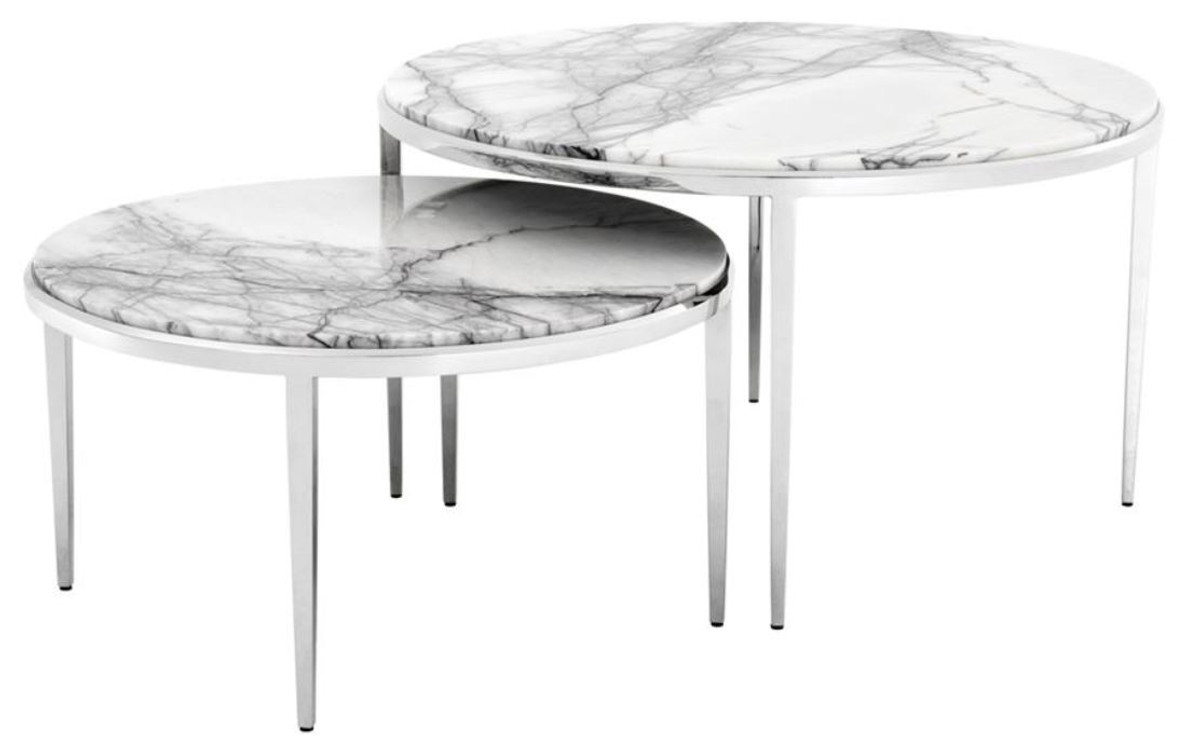 Couchtisch Marmor Real Casa Padrino Luxury Coffee Table Set Of 2 Silver / White