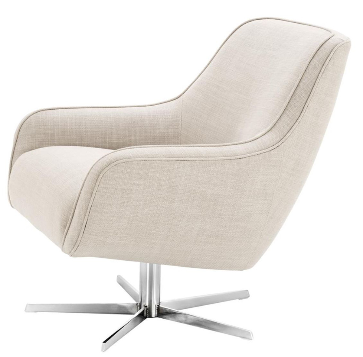Drehsessel Grau Casa Padrino Swivel Armchair Natural Colors Silver 76 X 80 X H 82 Cm Luxury Furniture