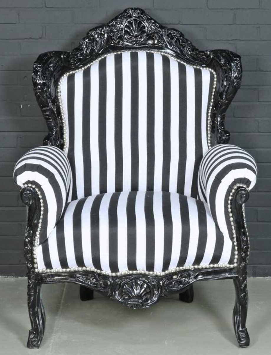 Casa Padrino Baroque Armchair Black White 85 X 85 X H 120 Cm Baroque Style Living Room Armchair With Stripes - Casa Padrino Sessel