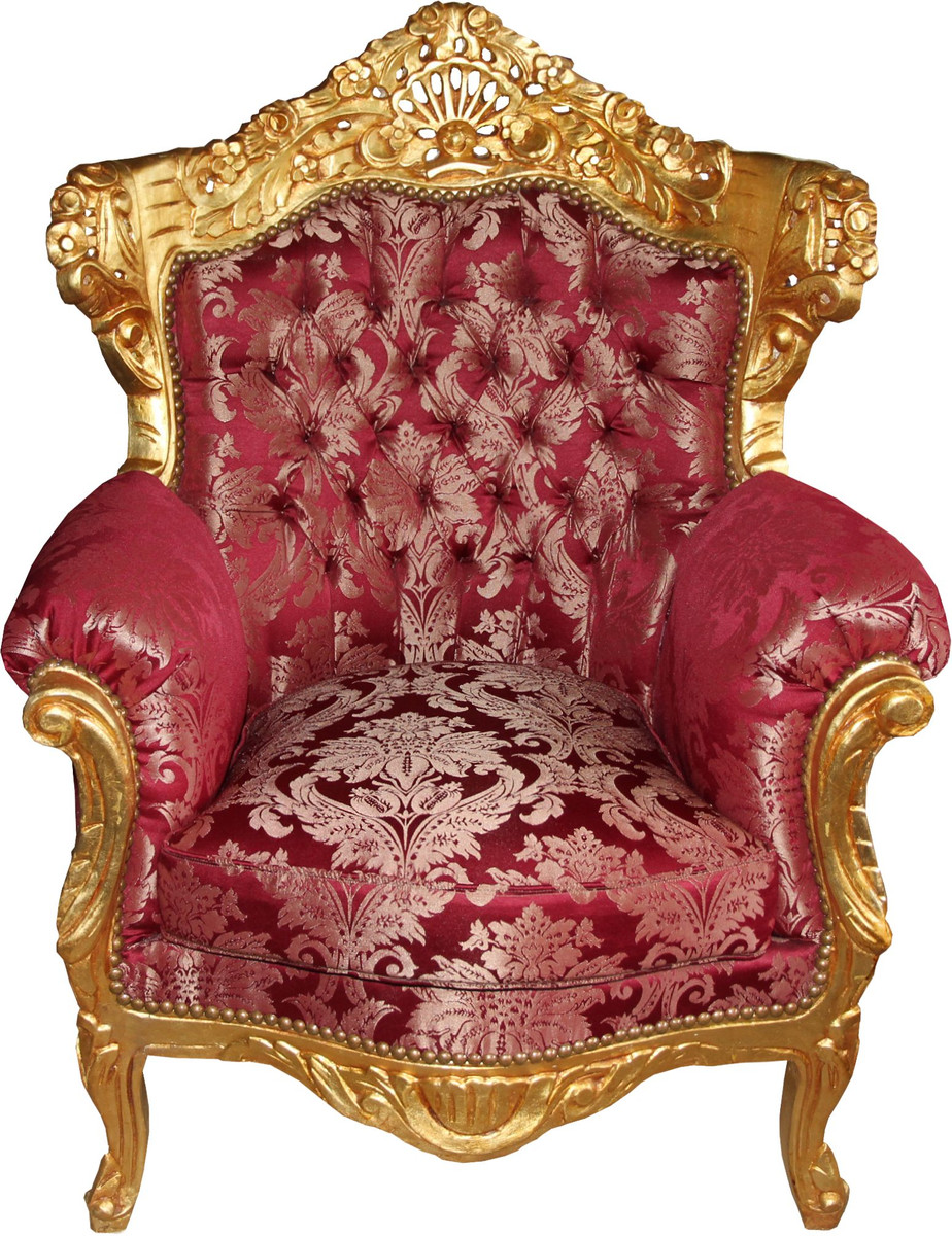 Casa Padrino Fauteuil Baroque Al Capone Bordeaux Motif Or Rococo Antique Style Furniture