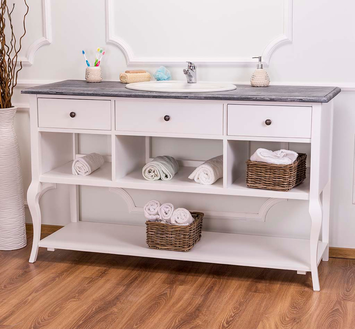 Badezimmer Country Style Casa Padrino Country Style Lavabo Lavabo Senza Lavabo Grigio Bianco Mobile Bagno