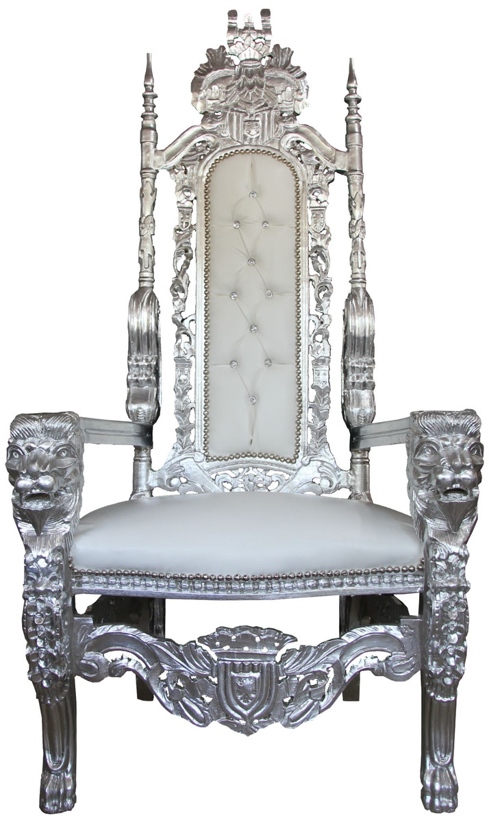 King Chair Sessel Casa Padrino Baroque Throne White Gold Unique King Chair Wedding Chair