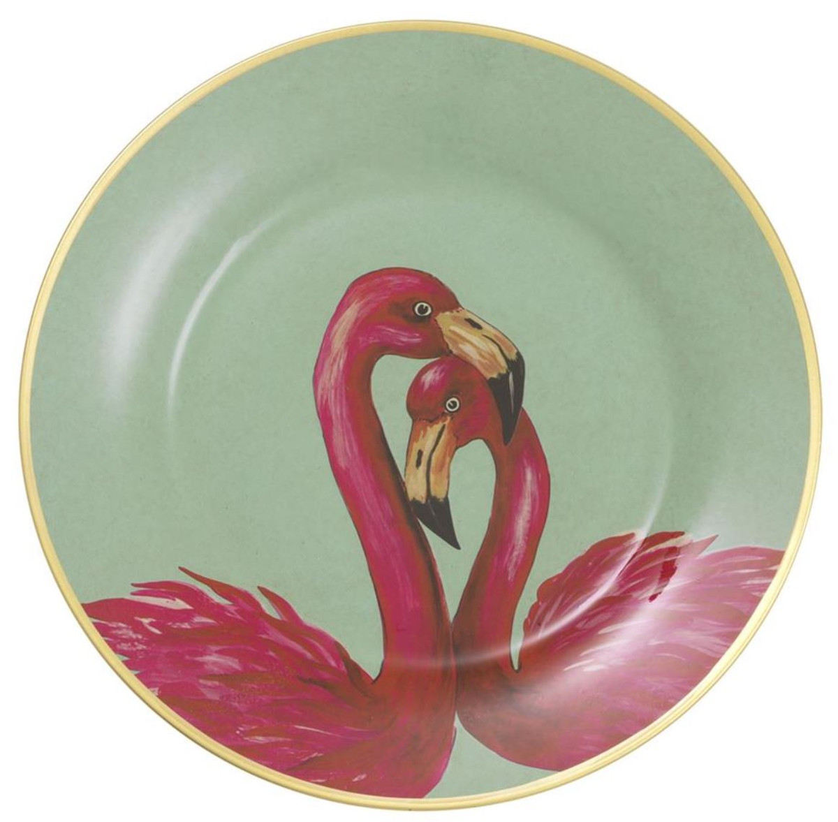 Casa Padrino Deco Porcelain Wall Plates Set Of 8 Flamingos Feathers Multicolor Gold Ø 27 Cm Luxury Wall Decoration