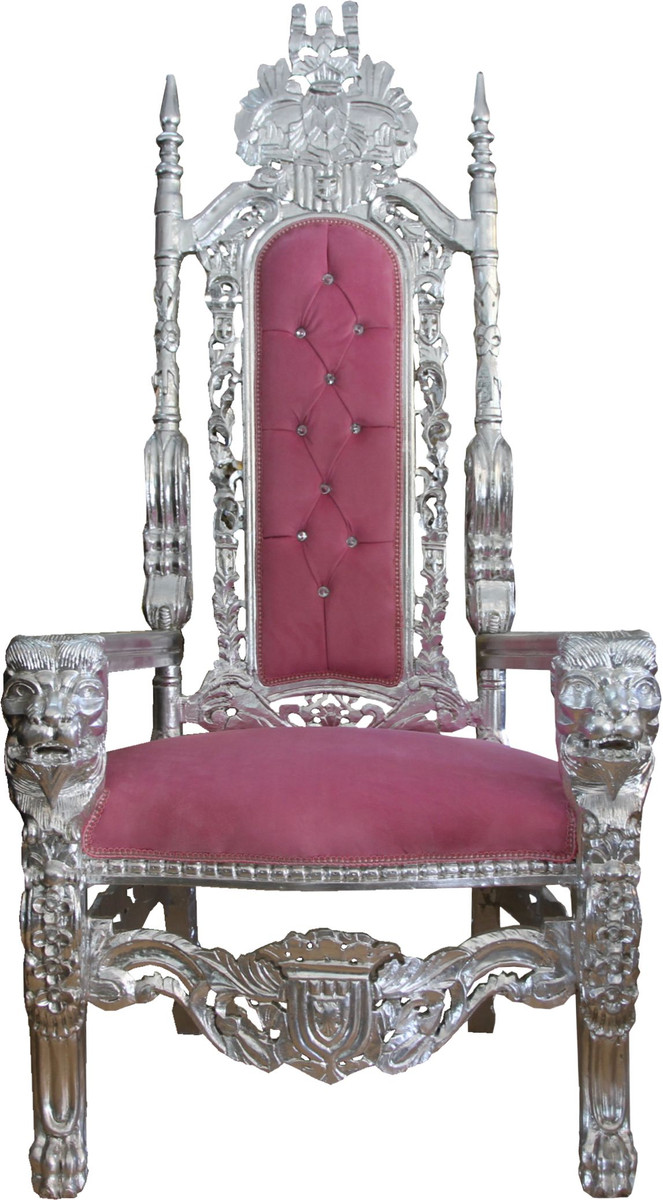 King Chair Sessel Casa Padrino Baroque Throne Armchair Pink Silver With