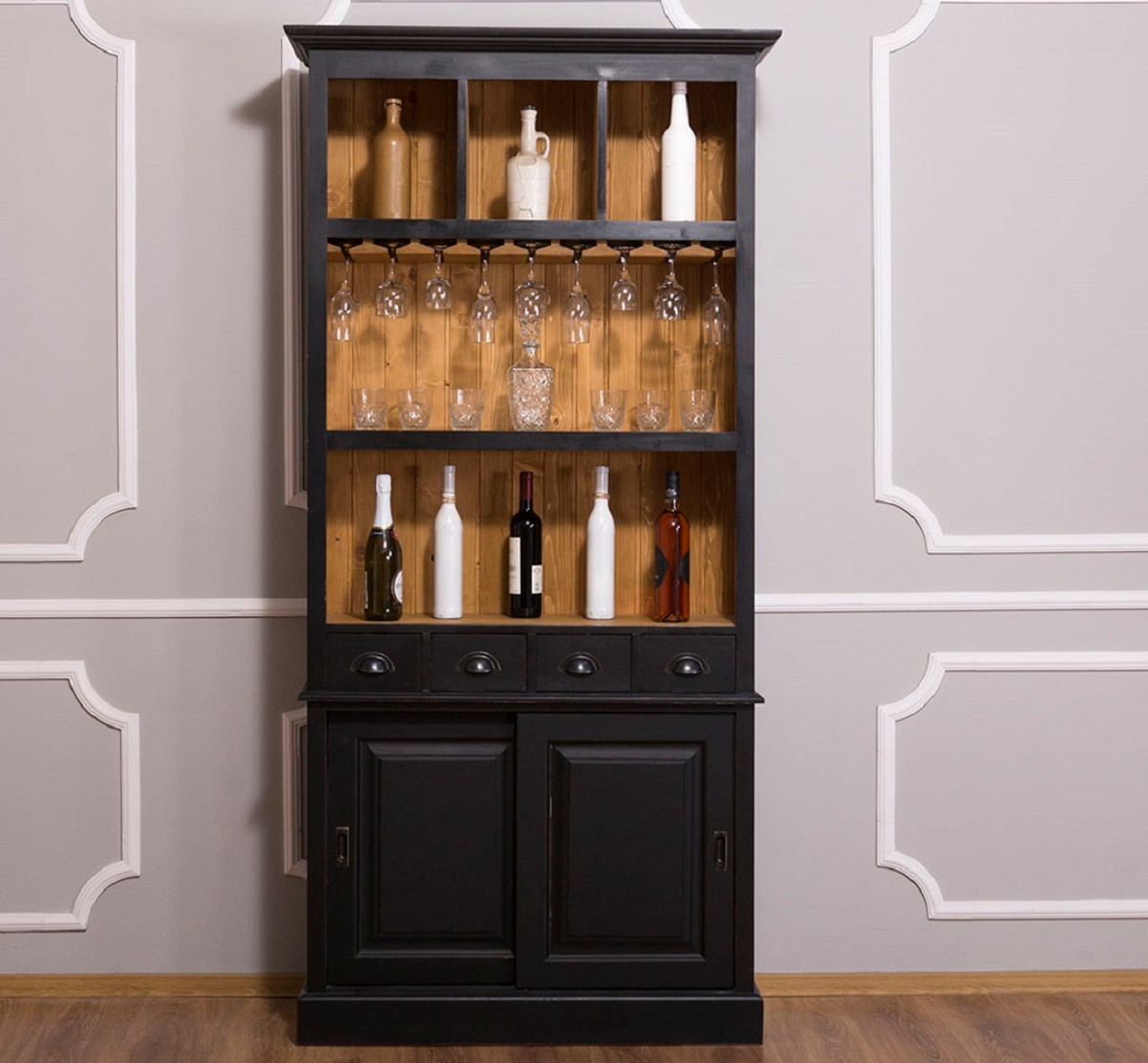 Casa Padrino Bar Weinschrank Casa Padrino Country Style Wine Cabinet Black Natural 103