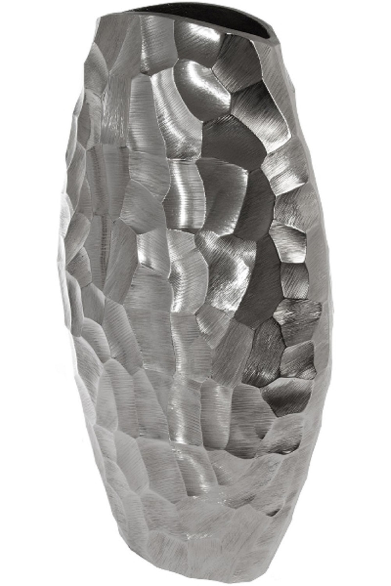 Casa Padrino Luxury Metal Vase Silver 27 X 12 X H 46 Cm Luxury Decorative Flower Vase