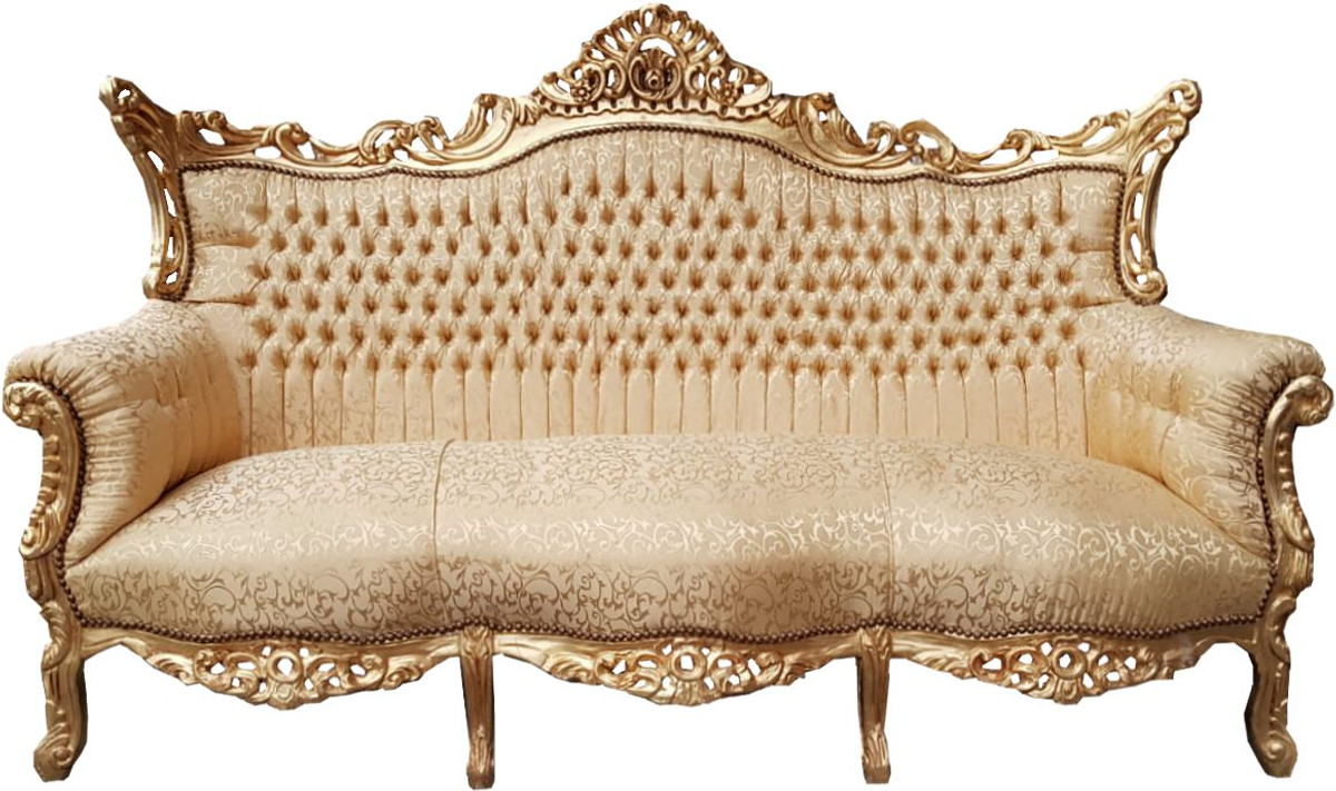 3er Couch Casa Padrino Baroque 3 Seater Sofa Gold Pattern Gold Living