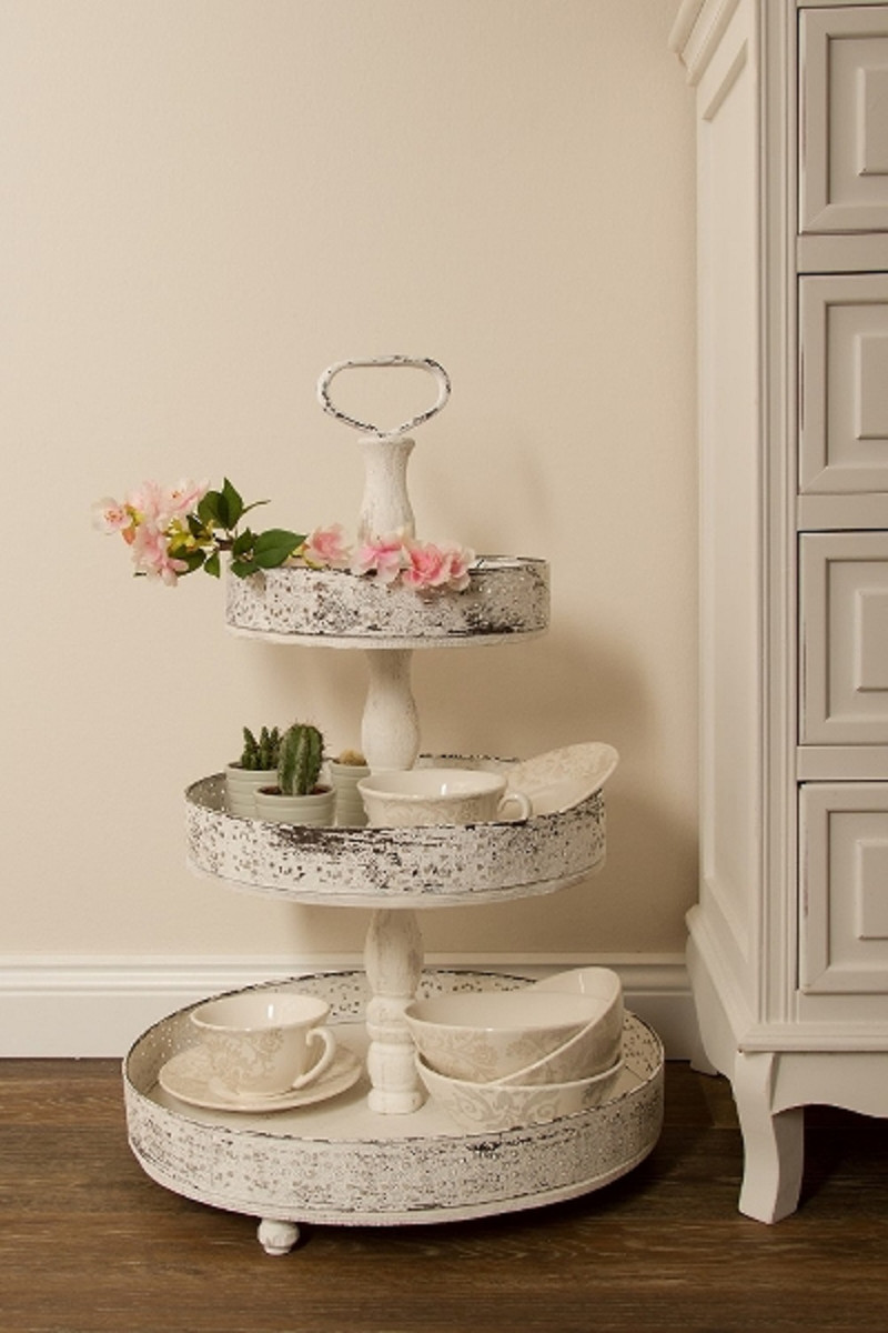Etagere 130 Cm Casa Padrino Country Style Shabby Chic Etagere 3 Tier Antique White Ø 40 X H 66 Cm Gastronomy Accessories