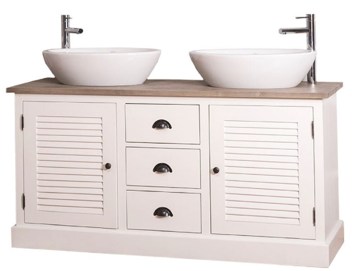Waschtisch 150 Cm Casa Padrino Country Style Double Washbasin Vanity Unit With 2 Doors And 3 Drawers Cream Natural 150 X 51 X H 75 Cm Country Style Bathroom