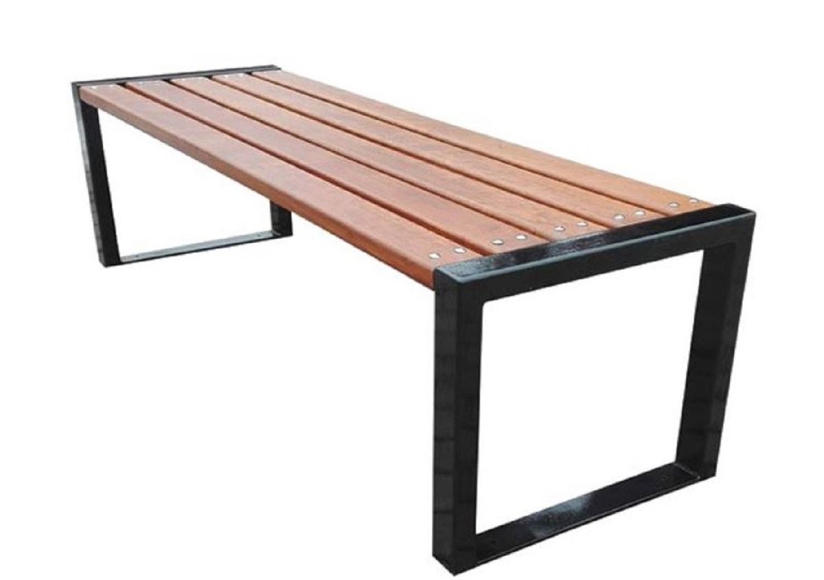 Holzbank Outdoor Casa Padrino Luxury Garden Bench Brown Black 150 X 47 X H 45 Cm Modern Bench Without Backrest