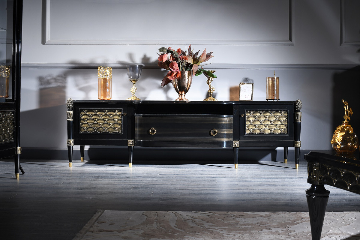 Casa Padrino Luxury Baroque Tv Cabinet Black Gold 226 X 59 X H 68 Cm Baroque Living Room Cabinet With 2 Doors And Drawer