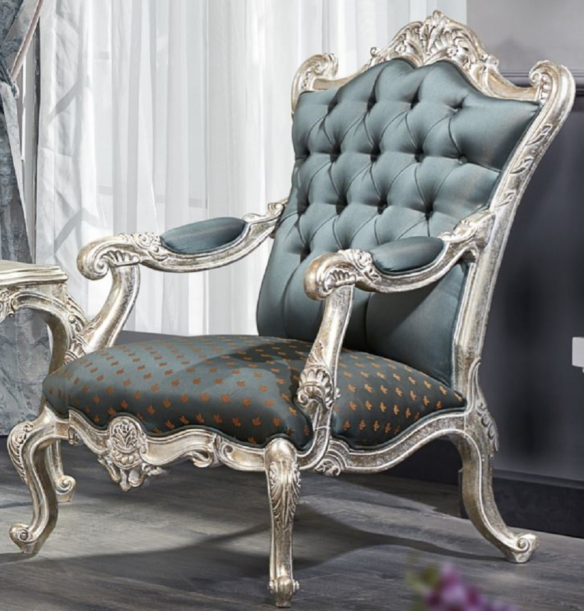 Casa Padrino Luxury Baroque Chesterfield Throne Armchair Turquoise Dark Turquoise Gold Silver 87 X 83 X H 110 Cm Baroque Furniture - Casa Padrino Sessel