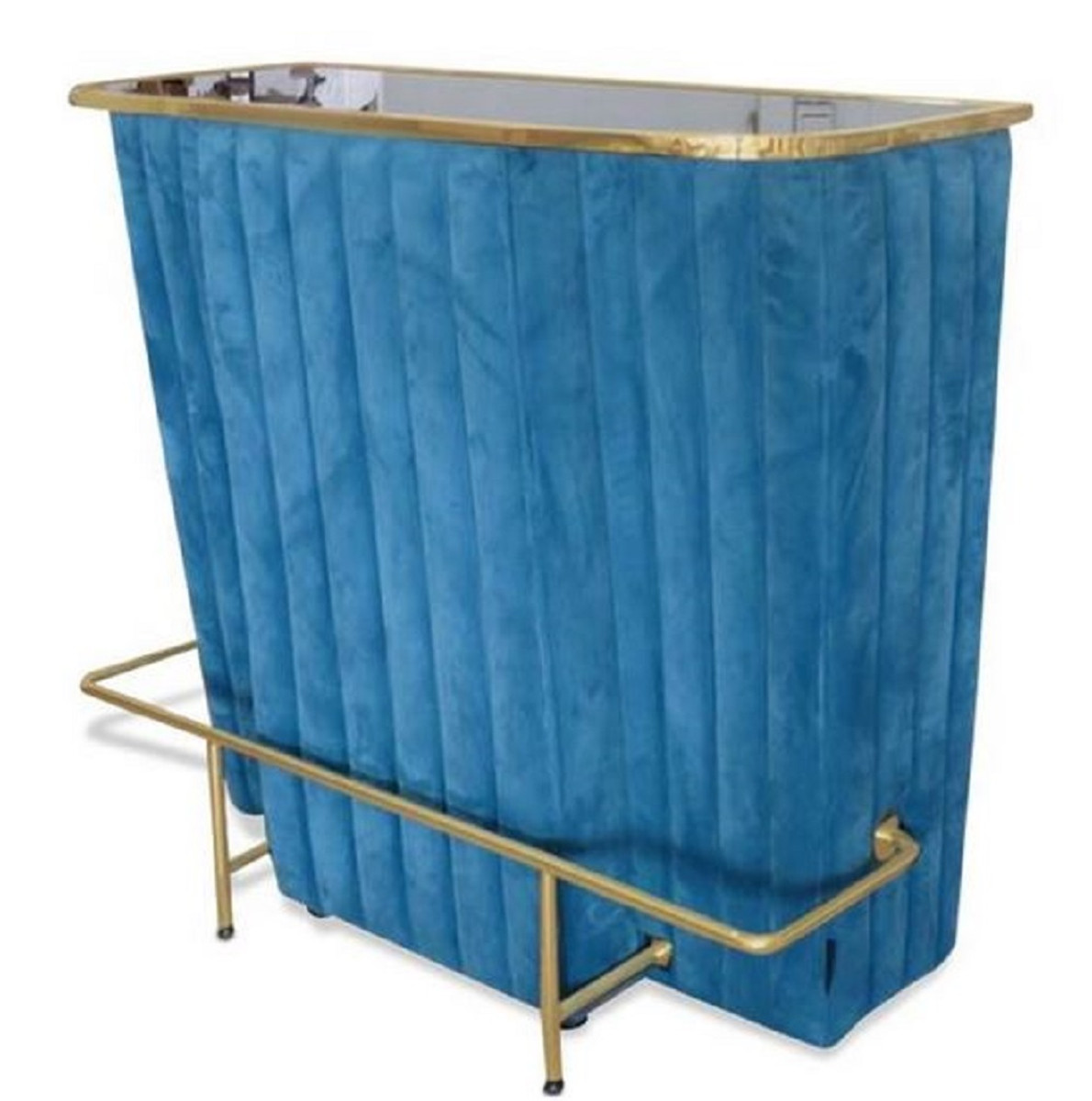 Casa Padrino Luxury Bar Counter Blue Gold 120 X 48 X H 105 Cm Bar Counter With Glass Top And Foot Rest Bar Cabinet Bar Furniture Luxury Quality