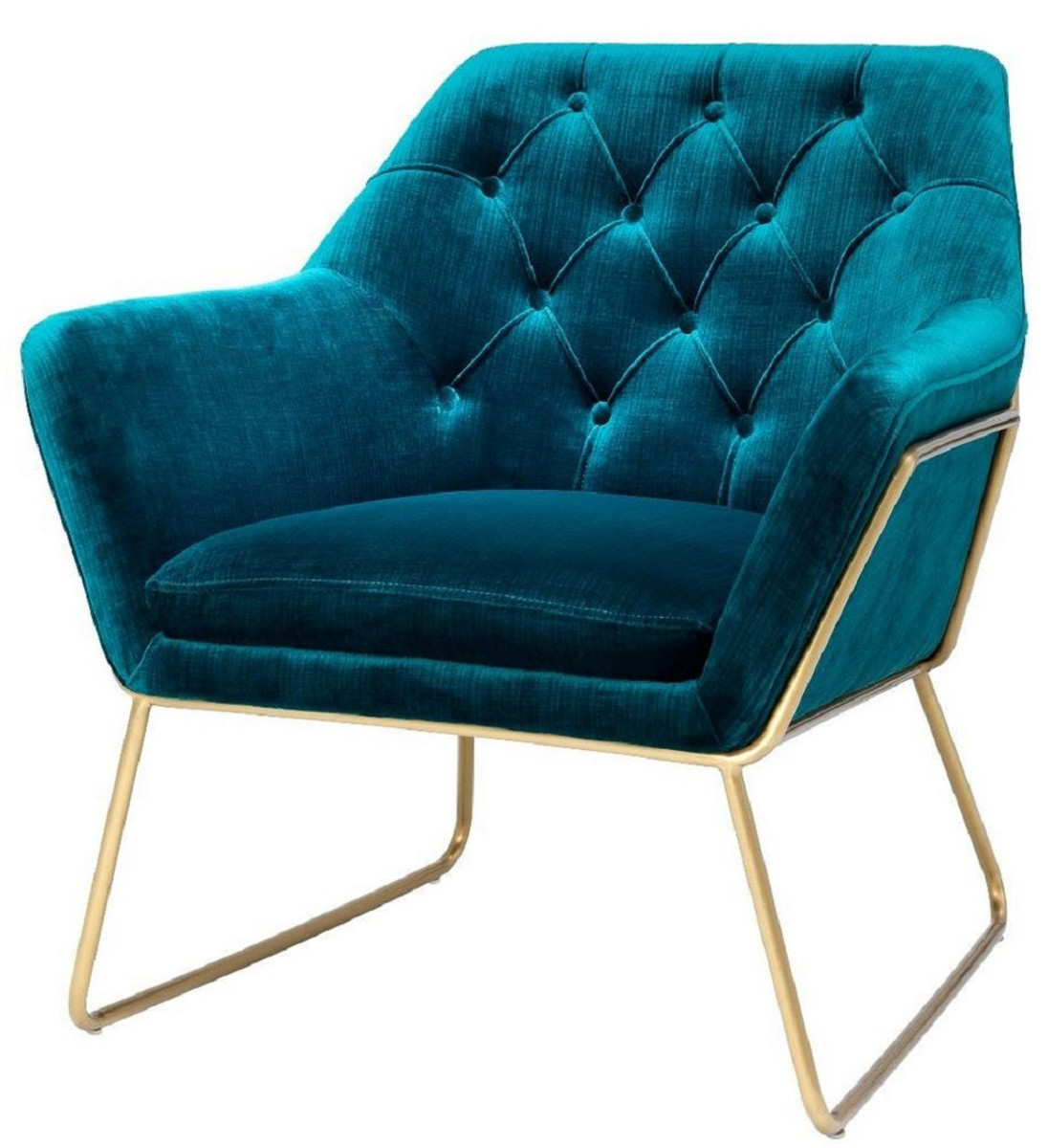 Sessel Blau Casa Padrino Luxus Lounge Samt Sessel Blau / Messing 75 X 78 X H. 82 Cm - Retro Wohnzimmer Sessel - Luxus Möbel |