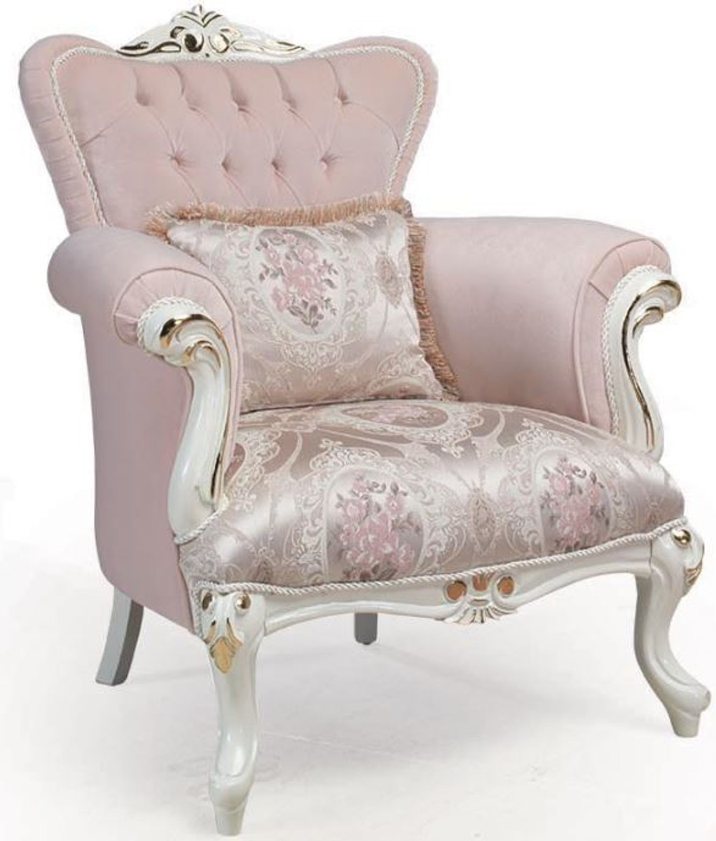 Casa Padrino Luxury Baroque Armchair Pink White Gold 83 X 96 X H 102 Cm Living Room Armchair With Decorative Pillow Baroque Furniture - Casa Padrino Sessel