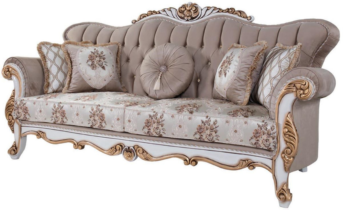 Couch Lila Casa Padrino Luxury Baroque Sofa With Cushions Gray / Multicolor / White / Bronze 232 X 87 X H. 101 Cm - Living Room Couch With Floral Pattern And Beautiful Decorations |