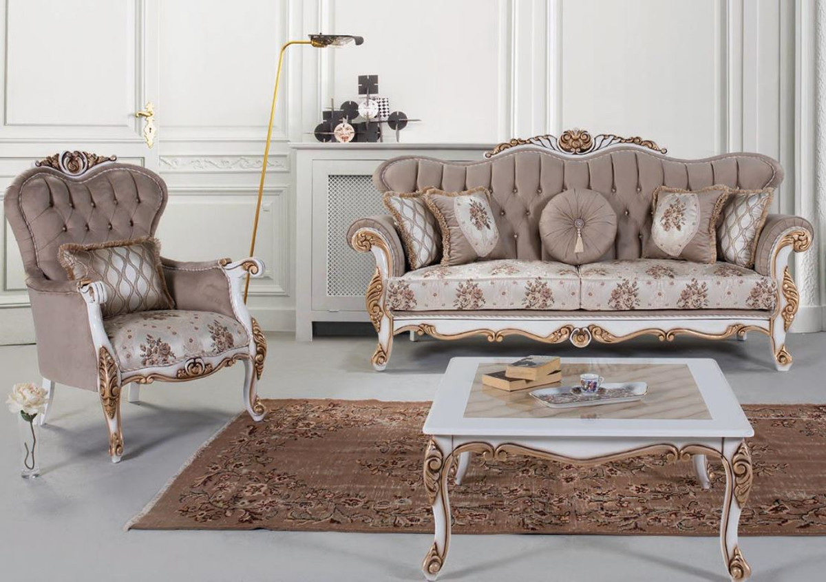 Casa Padrino Luxury Baroque Living Room Set Gray Multicolor White Bronze 2 Sofas 2 Armchairs 1 Coffee Table Living Room Furniture In Baroque Style Noble Ornate