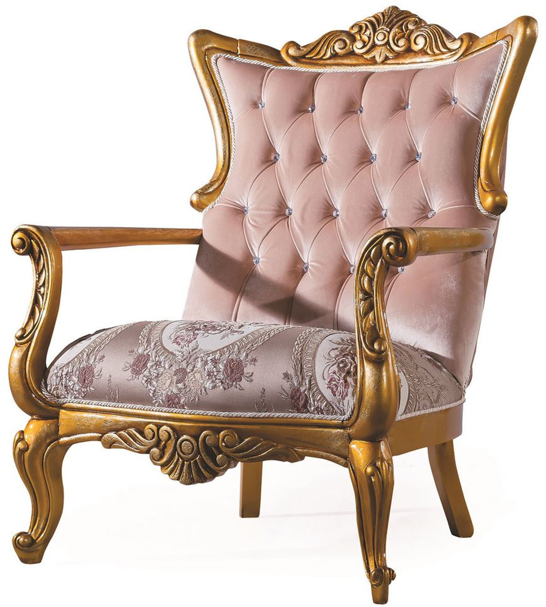 Casa Padrino Luxury Baroque Living Room Armchair With Rhinestones Pink Gold 90 X 85 X H 110 Cm Living Room Furniture In Baroque Style - Casa Padrino Sessel